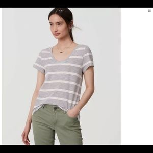LOFT Mixed Stripe Scoop Neck Short Sleeve Tee L